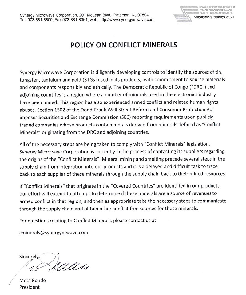 Conflict Materials Policy